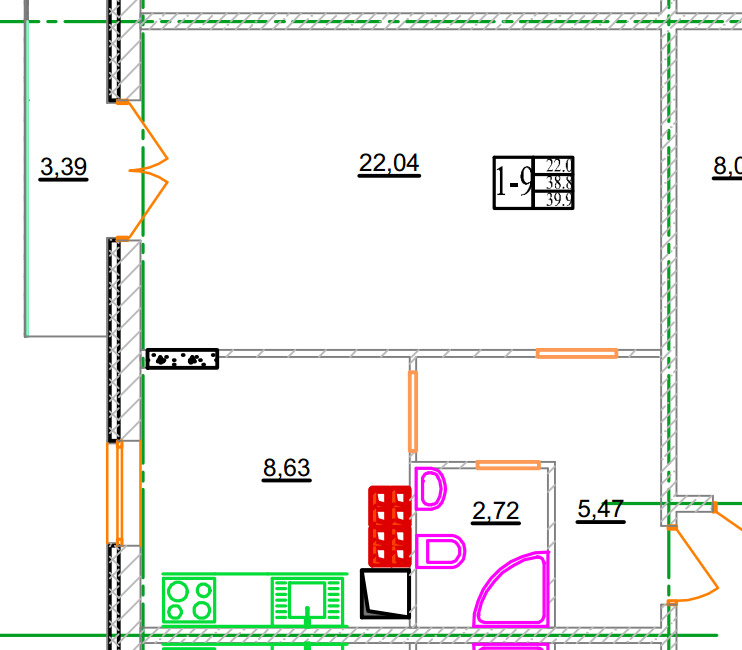 Однокомнатная квартира 1-8